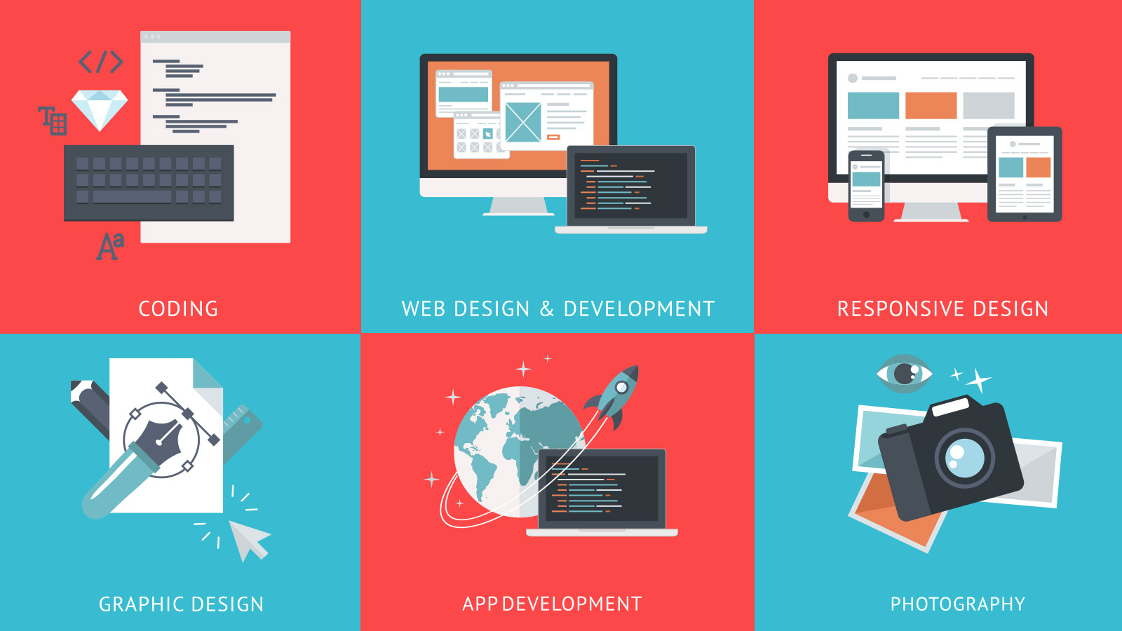 Services: Web Development, Graphic Design, Coding, Responsive Design, Development, Photography